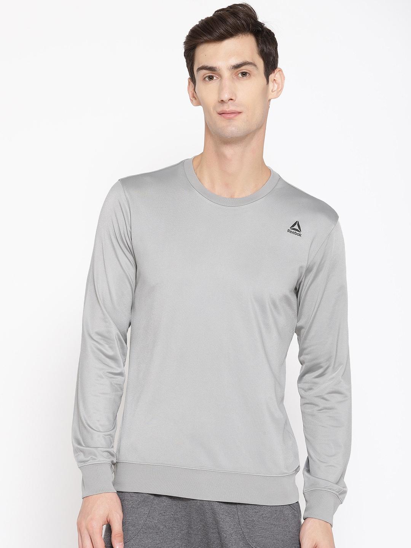 Reebok Men Grey Solid Foundation Training Sweatshirt