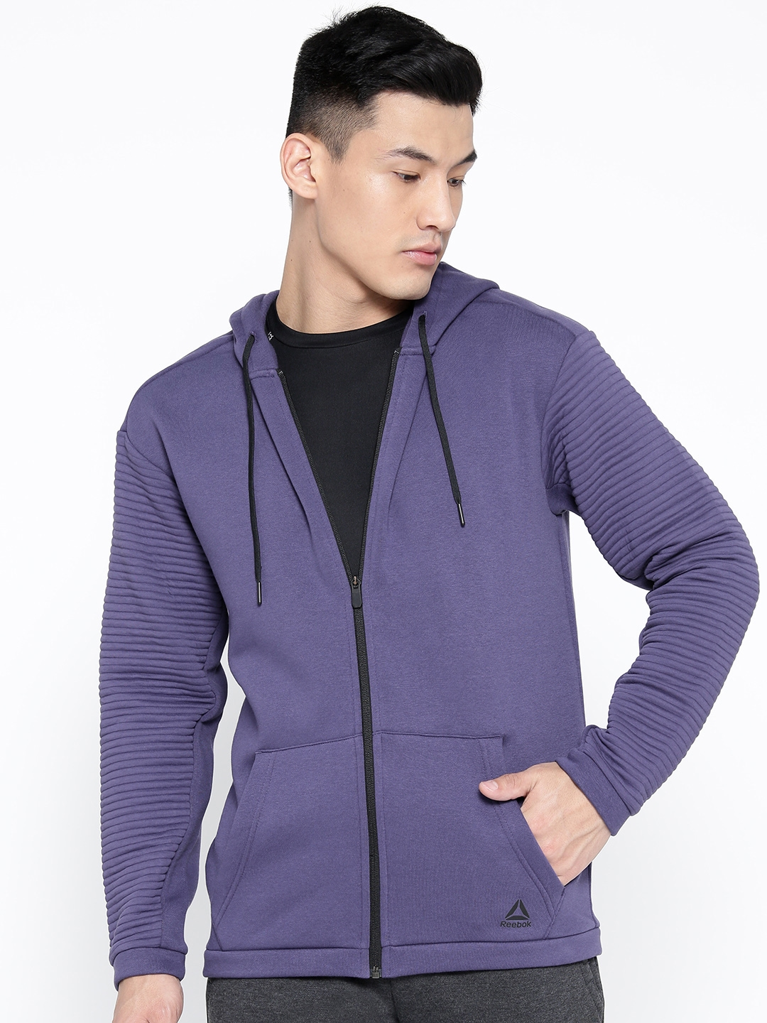 Reebok Men Purple Workout Full Zip Fleece Solid Hooded Training Sweatshirt