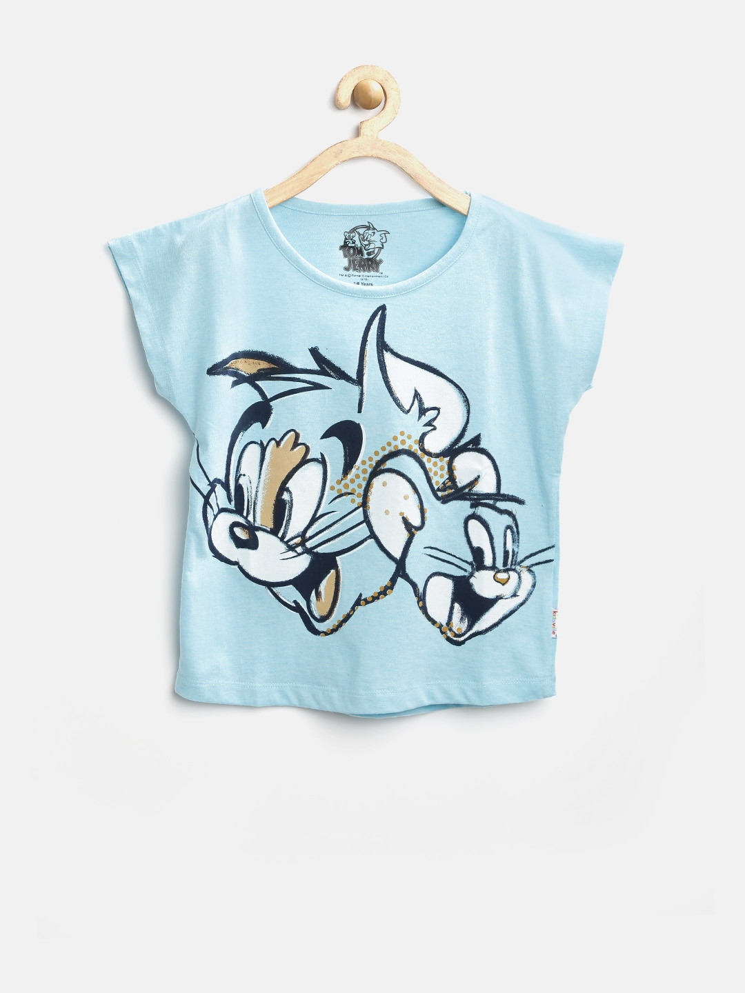 1c31ab1d870d Buy Tom   Jerry By Kids Ville Girls Turquoise Blue Printed Top ...