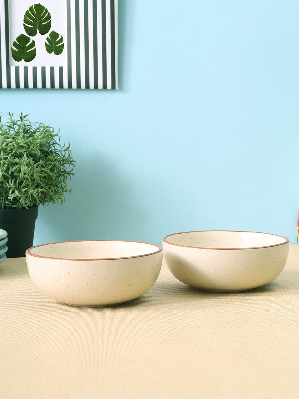 VarEesha Set of 2 White Solid Ceramic Bowls