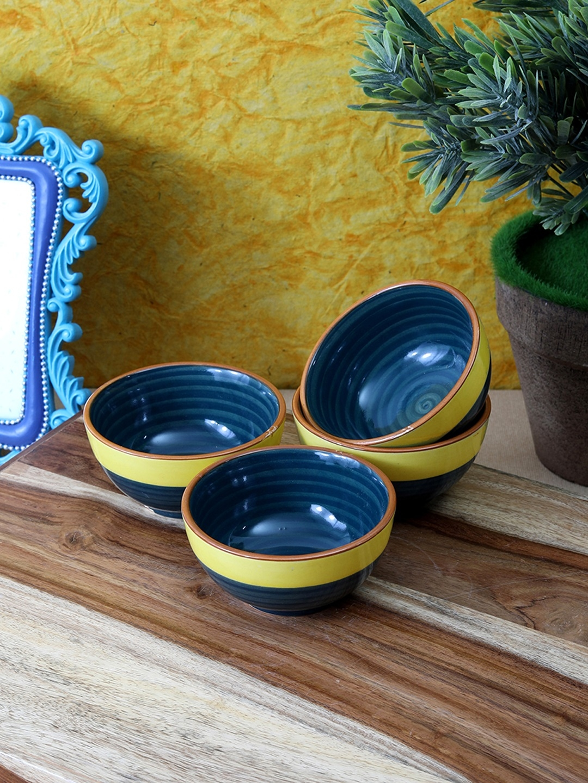 VarEesha Set of 4 Green   Yellow Solid Ceramic Bowls