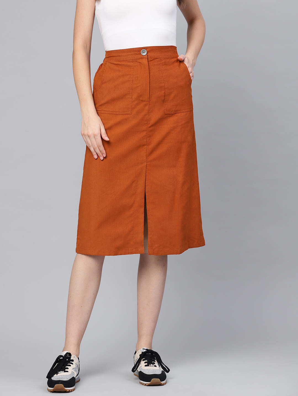 SASSAFRAS Women Rust Orange Solid Corduroy A Line Skirt