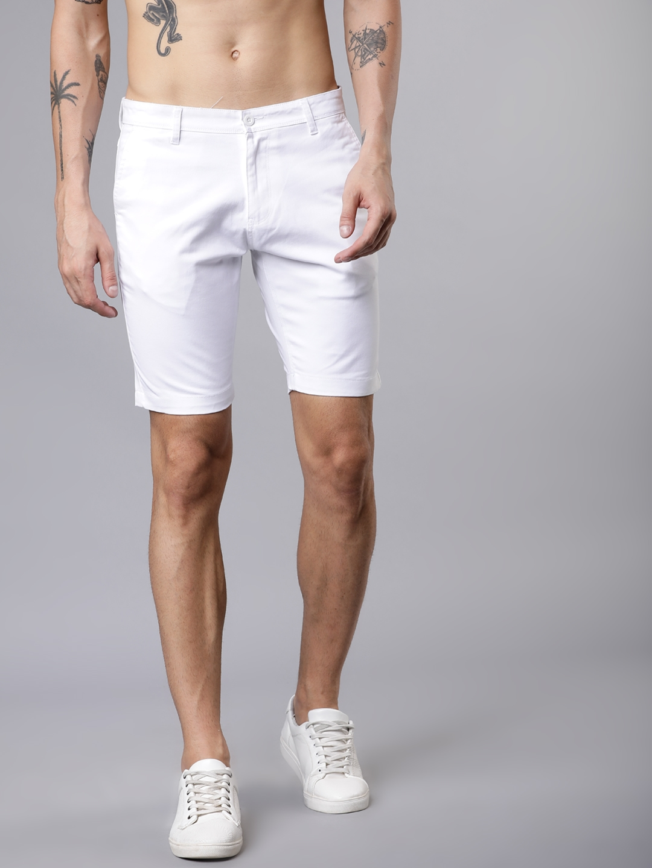 HIGHLANDER Men White Solid Slim Fit Chino Shorts