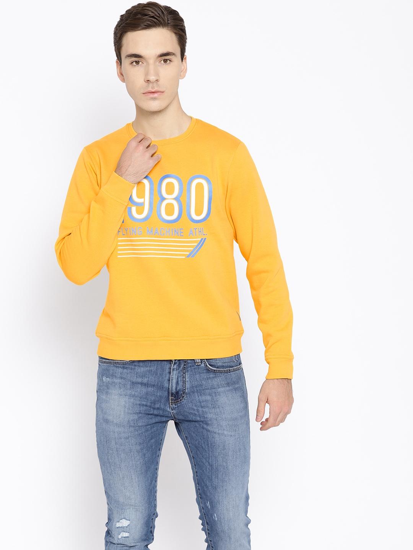 Flying Machine Men Mustard Yellow Printed Sweatshirt