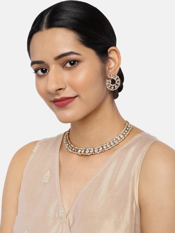 Zaveri Pearls Women Gold Toned Sparkling Austrian Diamonds Jewellery Set