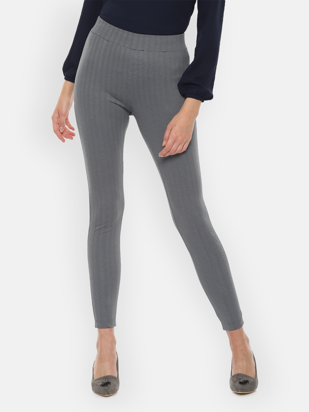 Van Heusen Woman Grey   Black Jeggings