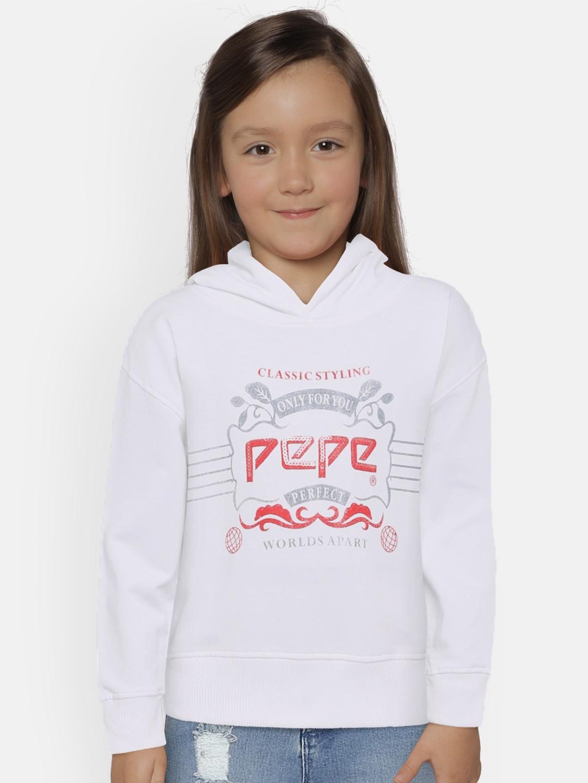 Pepe Jeans Girls White Printed Hooded Sweatshirt
