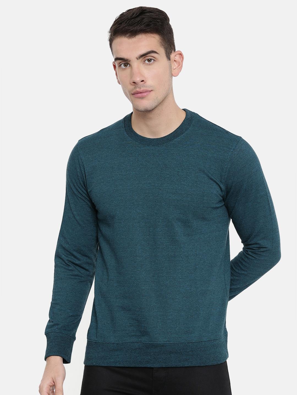 ARISE Men Teal Blue Solid Sweatshirt