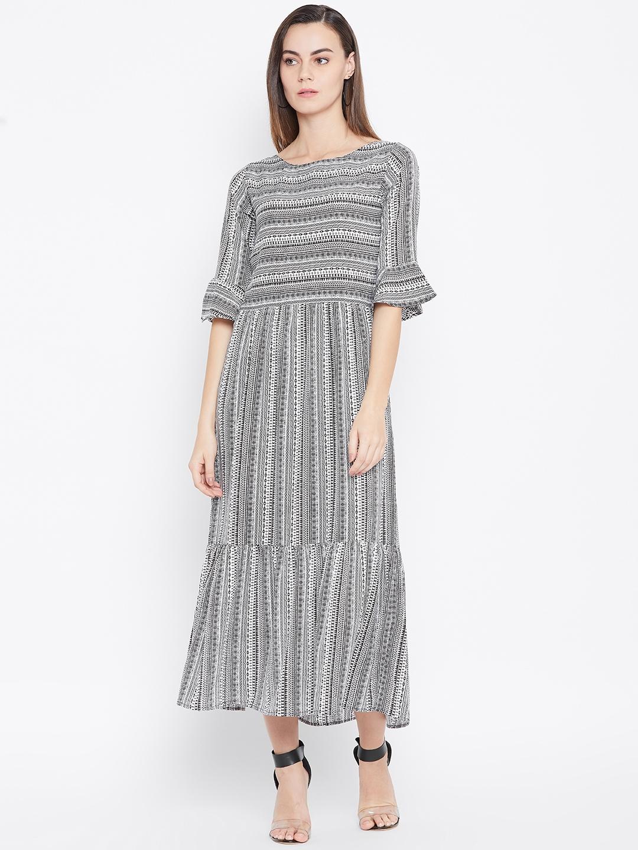 Cottinfab Women White   Black Printed Maxi Dress