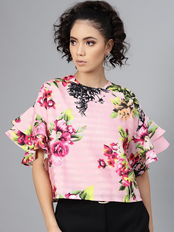 SASSAFRAS Women Pink Floral Print Boxy Top
