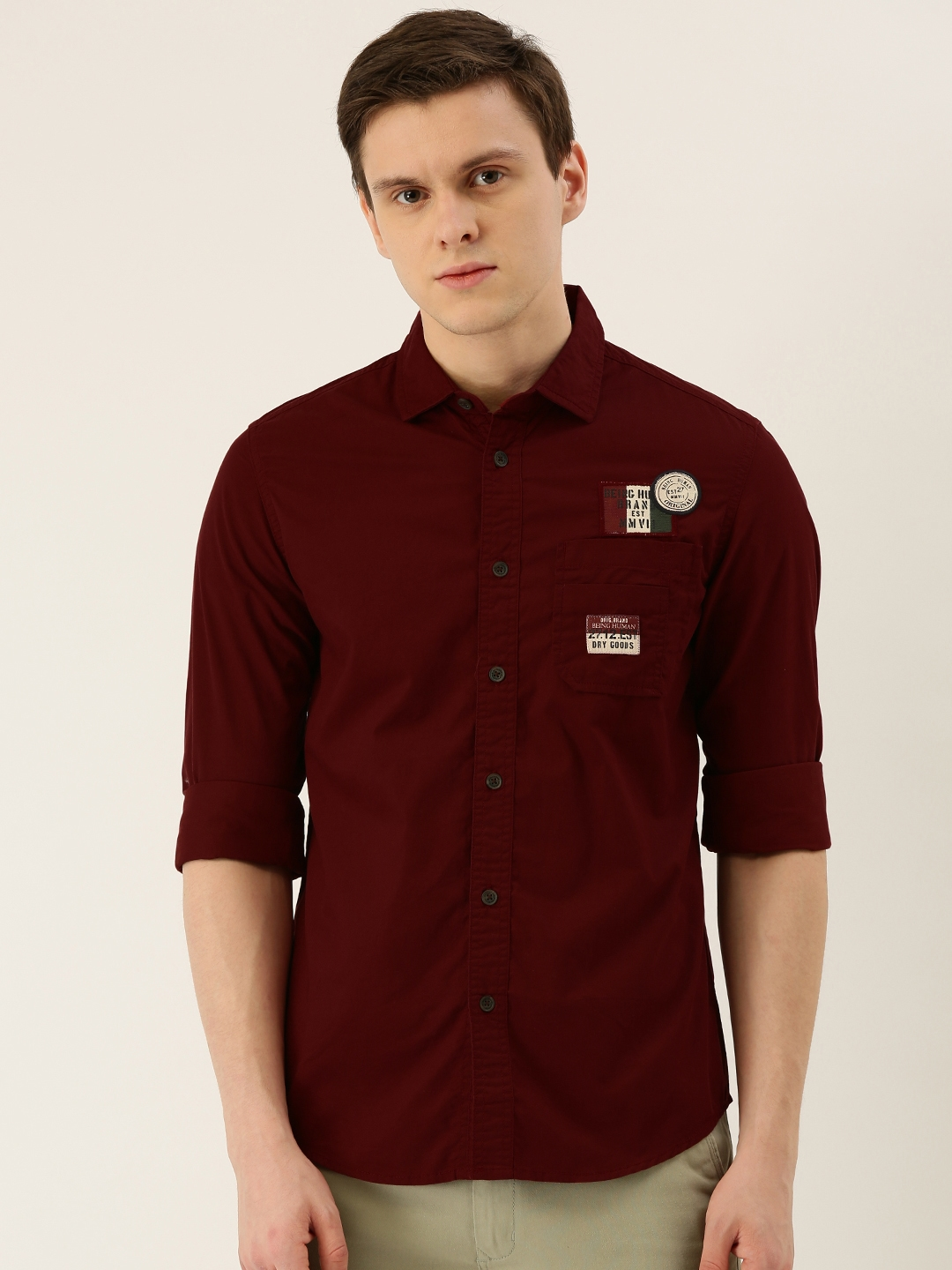 Being Human Men Maroon Comfort Fit Solid Casual Shirt