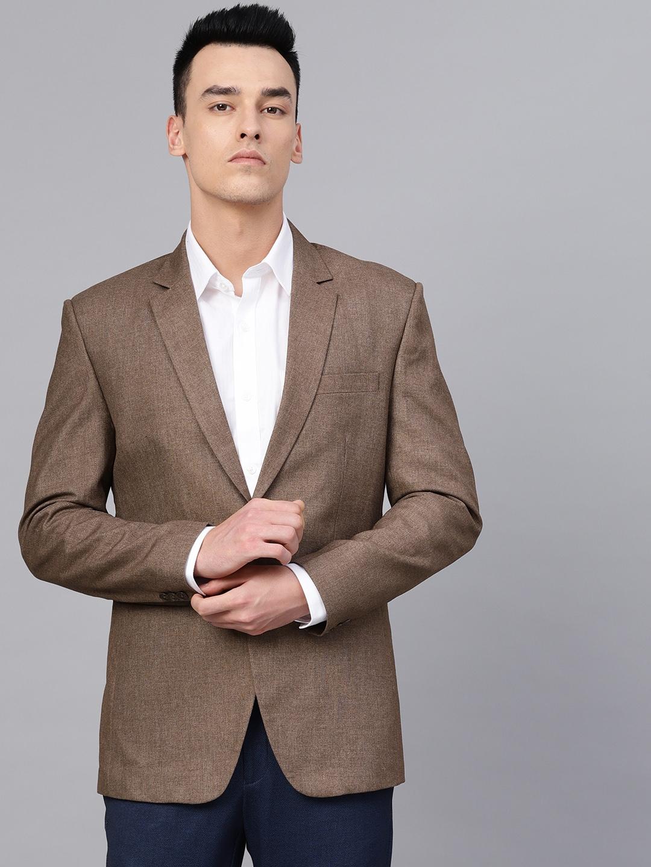 MANQ Men Brown Slim Fit Solid Single Breasted Formal Blazer