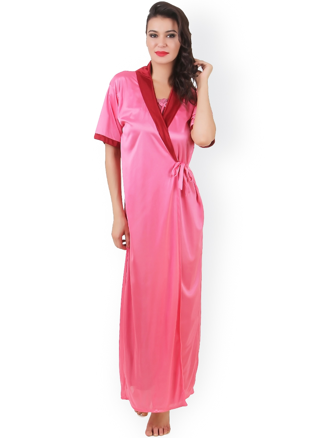 4bdb646672e Buy Masha Red   Pink Maxi Nightdress With Robe NT2PC A11 381 - Nightdress  for Women 1078960