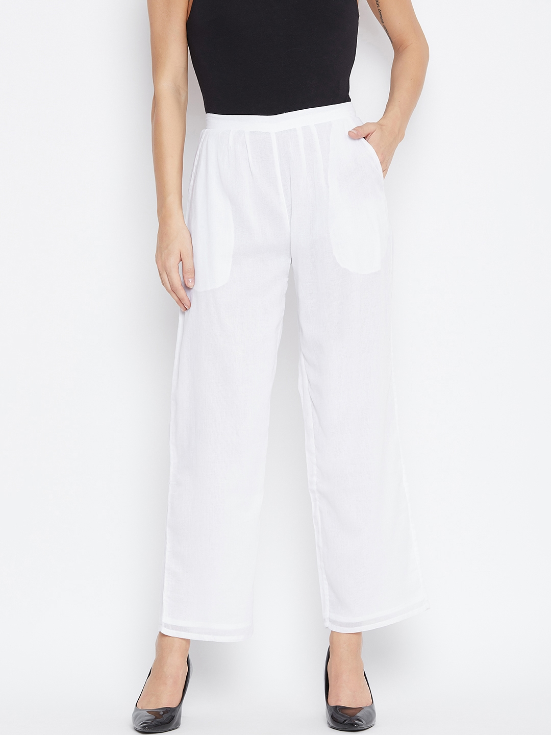 fabGLOBAL Women White Relaxed Slim Fit Solid Regular Trousers