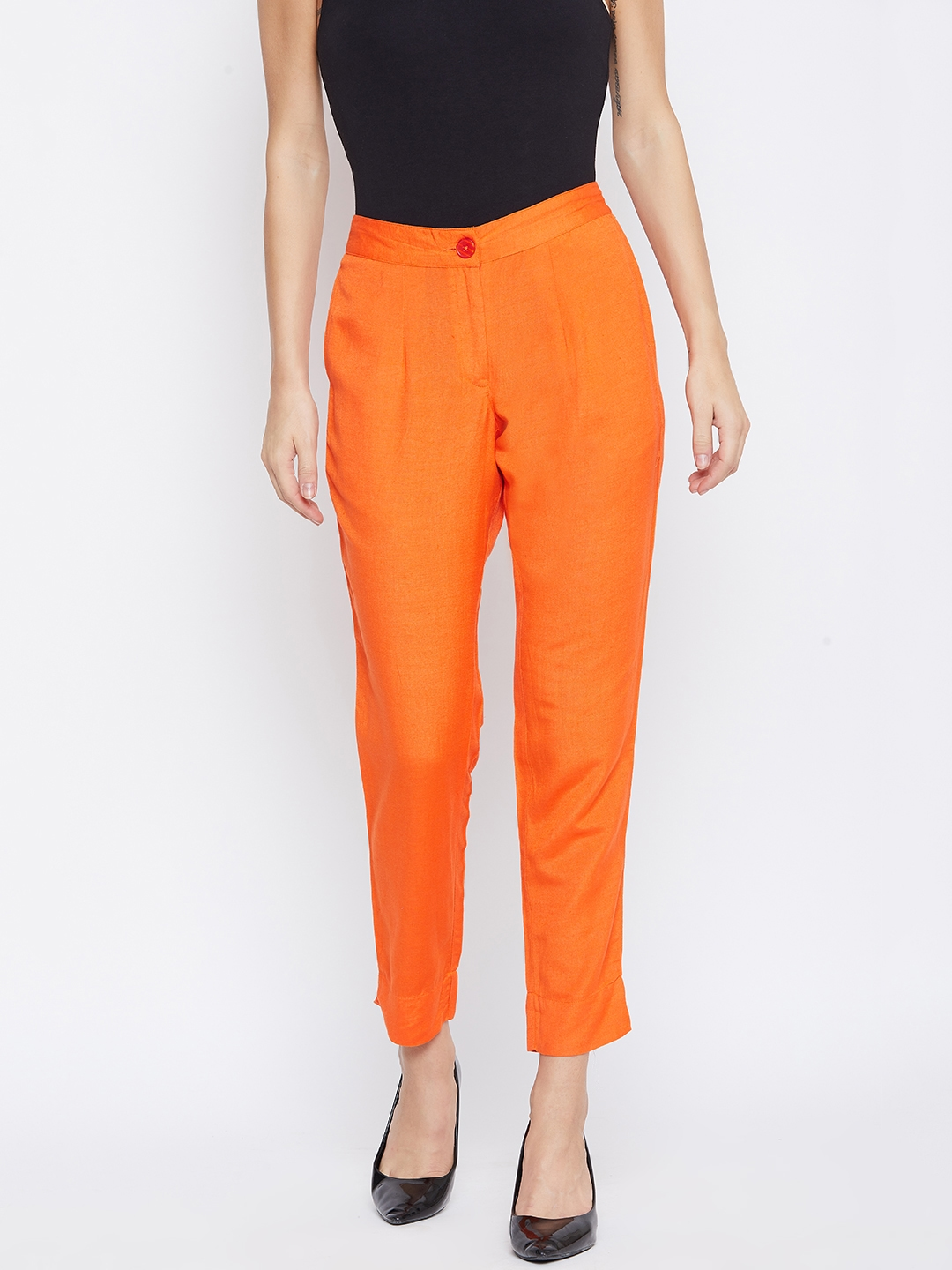 fabGLOBAL Women Orange Relaxed Slim Fit Solid Regular Cropped Trousers