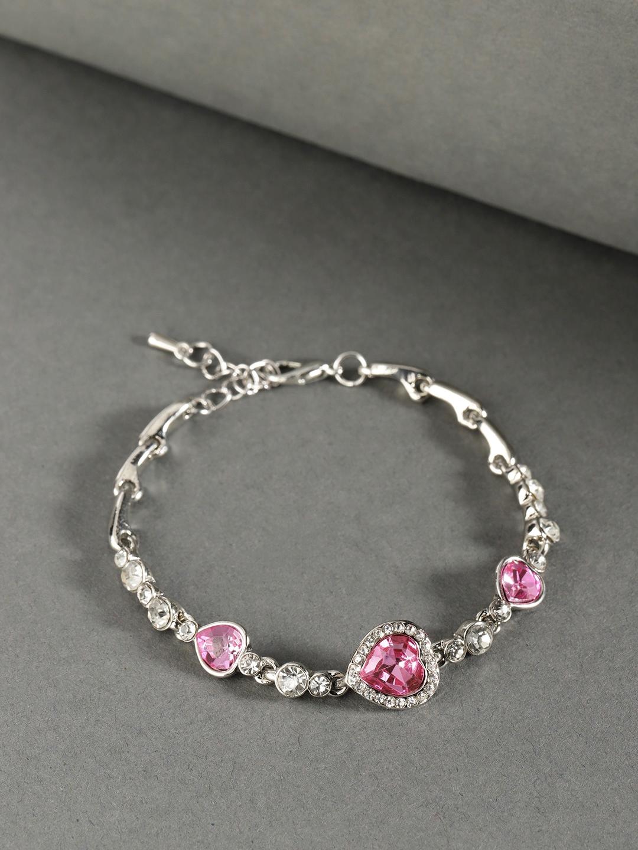Jewels Galaxy Pink Silver Plate CZ Studded Bracelet