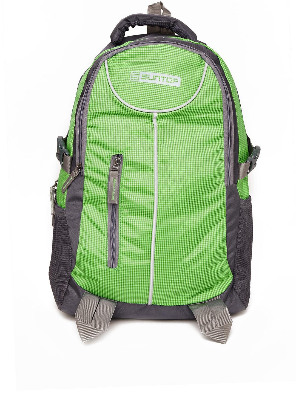 Suntop Unisex Green   Grey Checked Laptop Backpack