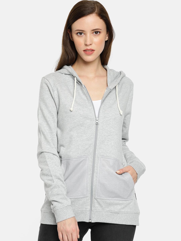 Wrangler Women Grey Melange Solid Hooded Sweatshirt