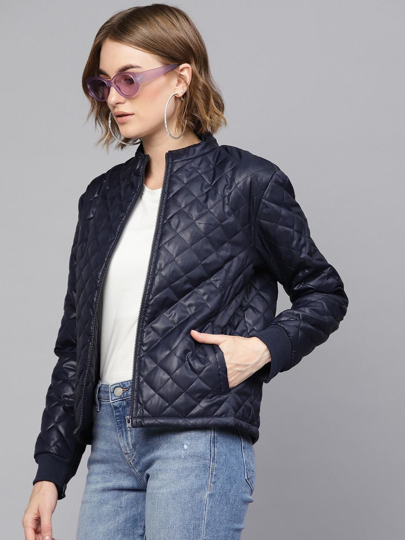 SASSAFRAS Women Navy Blue Solid Quilted Jacket