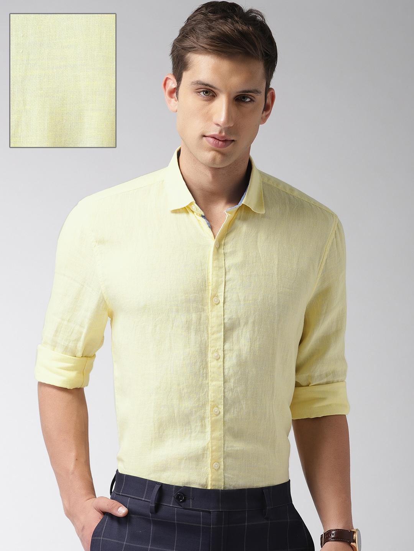 INVICTUS Men Yellow Estilo Slim Fit Linen Smart Casual Shirt