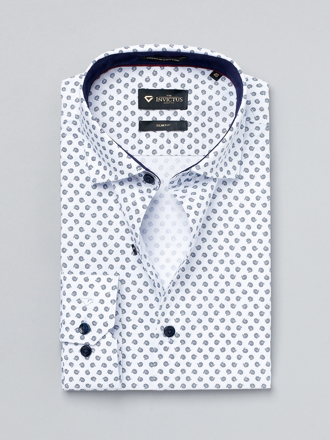 Buy INVICTUS White Printed Slim Formal Shirt - Shirts for Men | Myntra