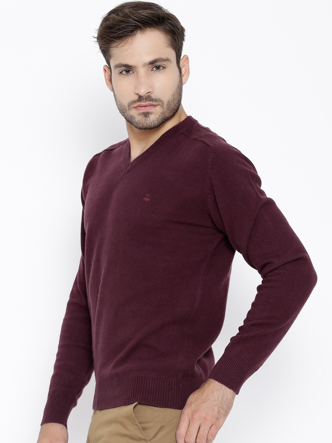 757104829f Buy United Colors Of Benetton Wine Coloured Lambswool Sweater ...