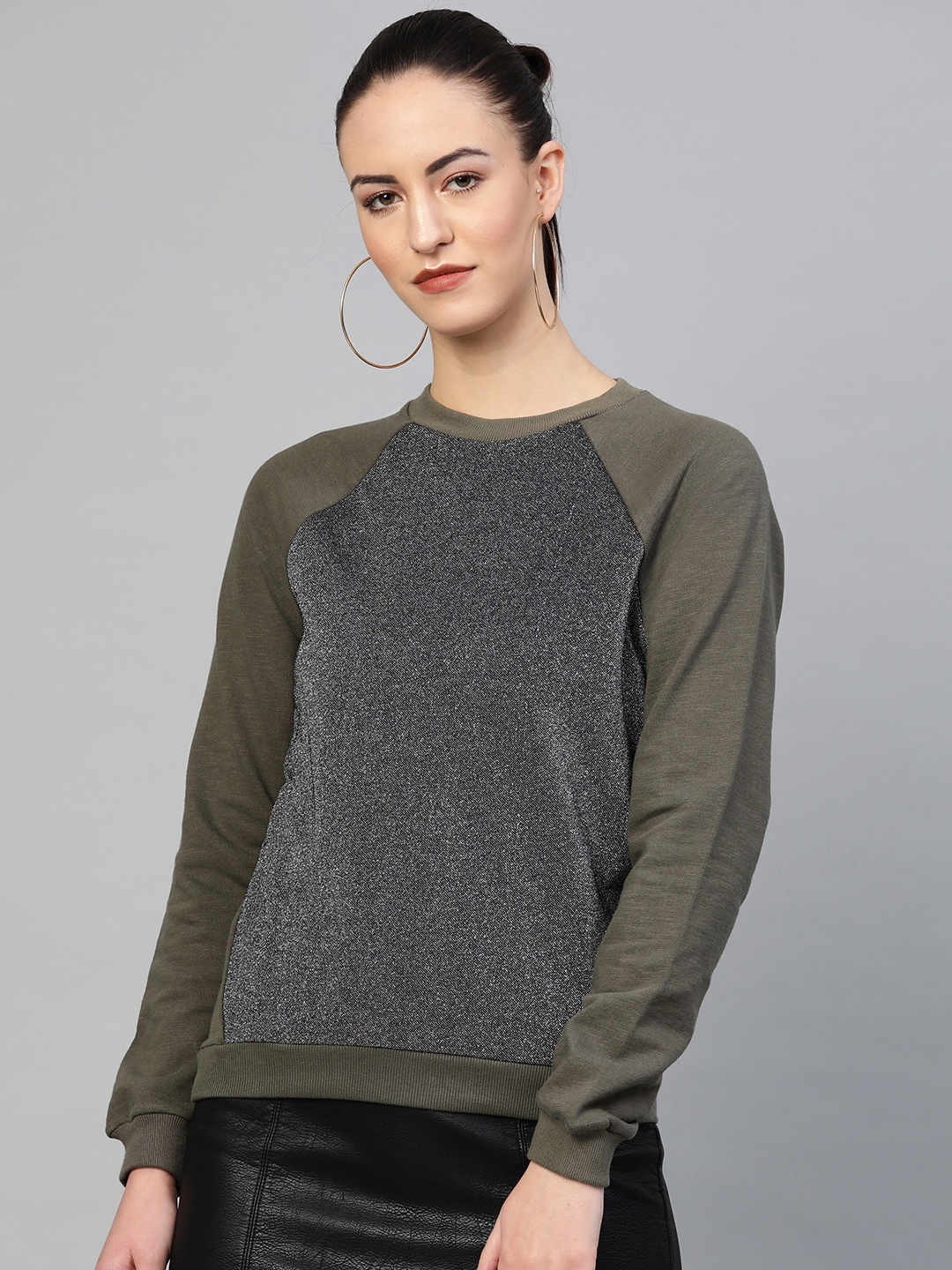 I AM FOR YOU Women Silver   Olive Green Solid Sweatshirt
