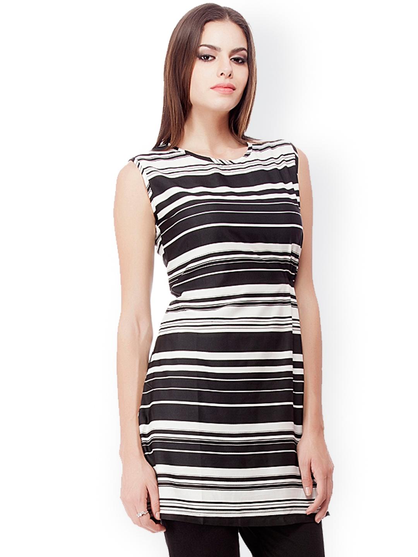 32721d24 Buy Kurti's By Menka Black & White Striped Tunic - Tunics for Women ...