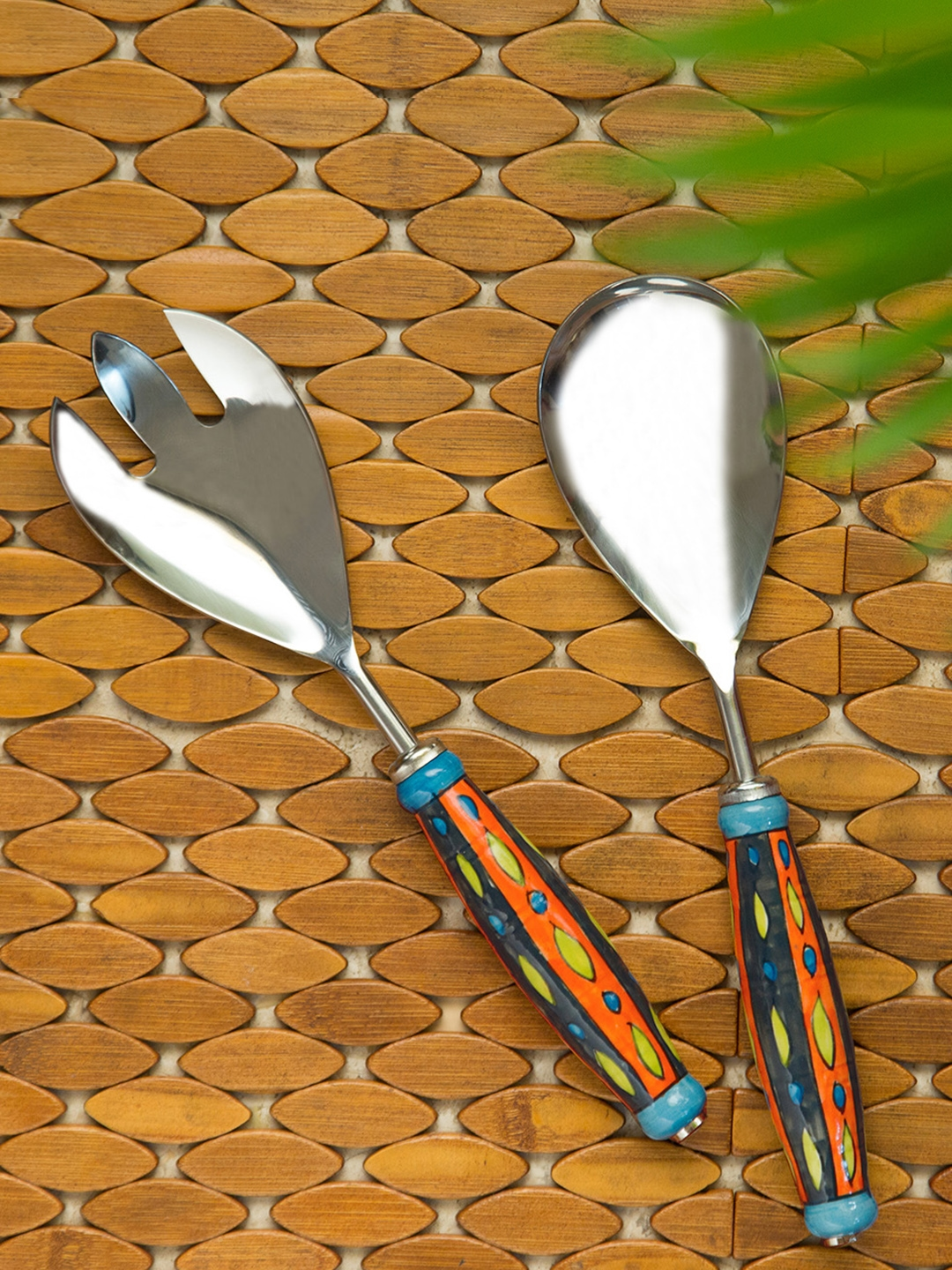 ExclusiveLane Hand Painted Serving Spoon   Fork Set In Stainless Steel Ceramic  Set of 2