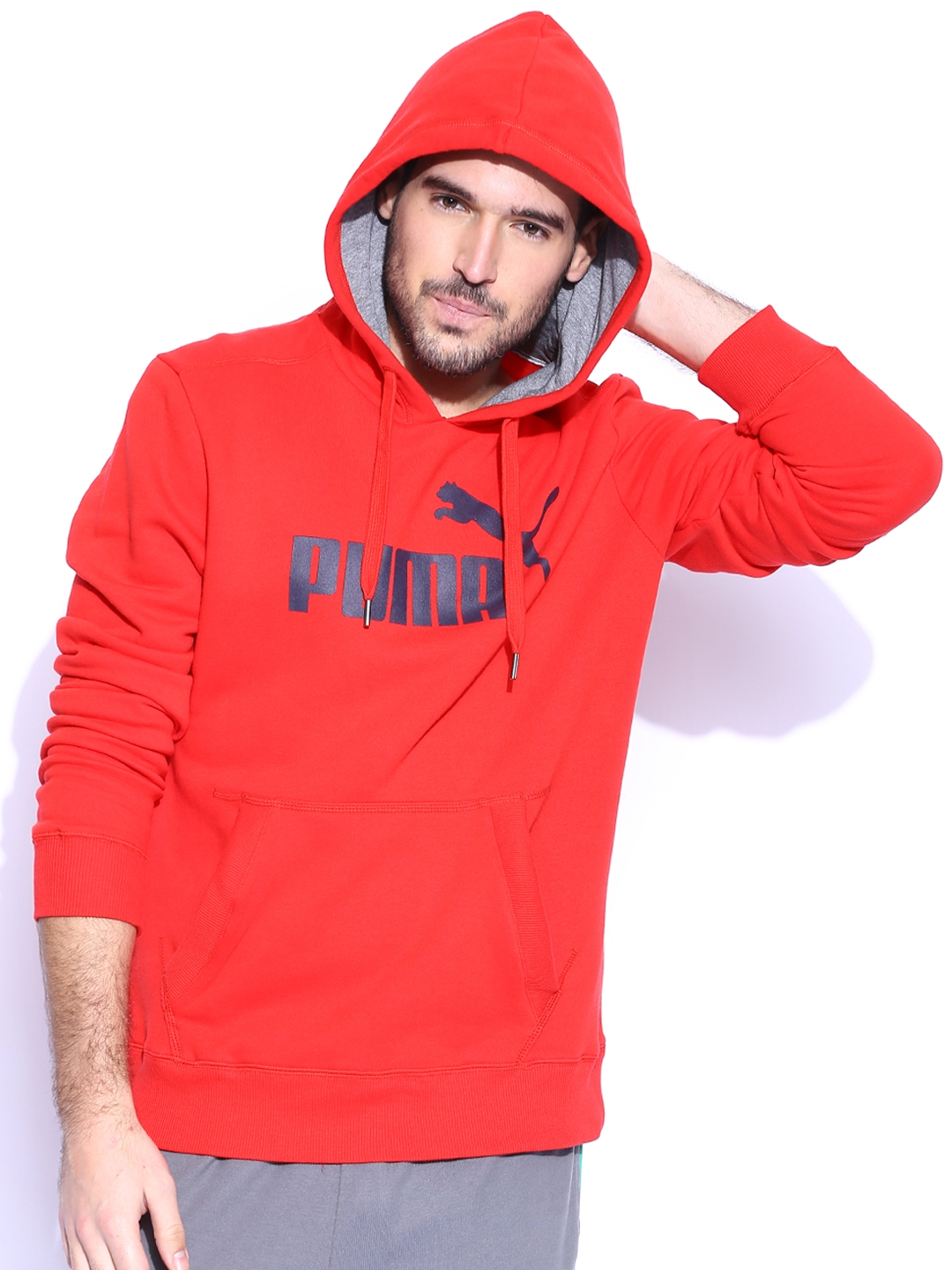 c30874f9f91ea Buy PUMA Red ESS No.1 Logo FL Hooded Sweatshirt - Sweatshirts for Men  1089718