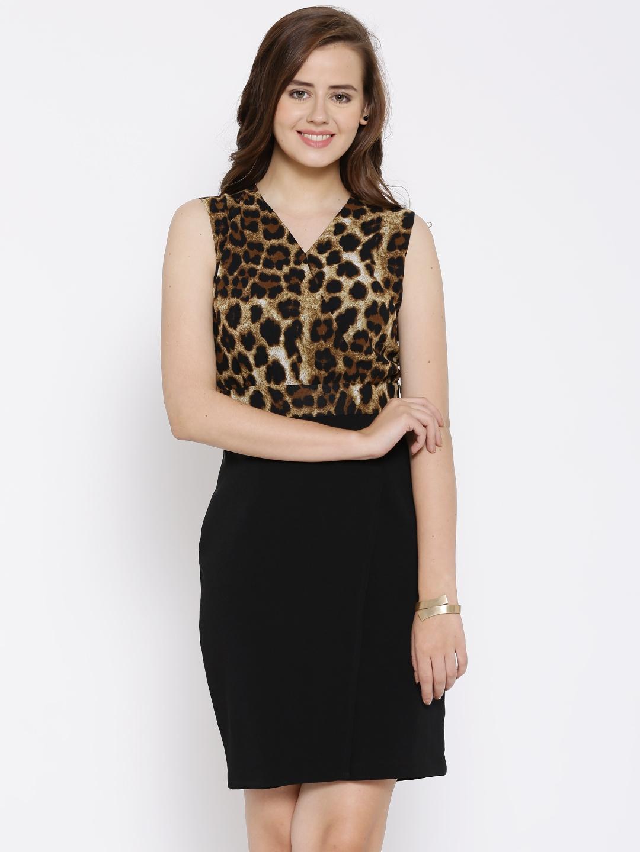 Buy Van Heusen Woman Black Animal Print Sheath Dress - Dresses for ... c1aa14992