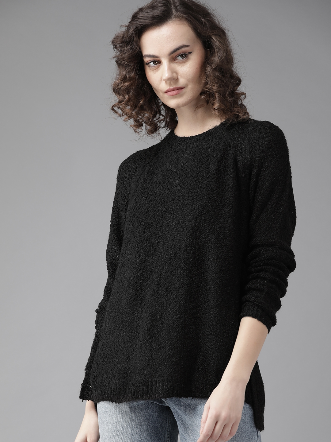 Roadster Women Black Solid Sweater