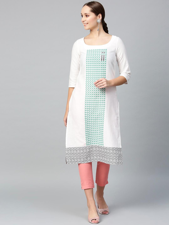 W Women White   Green Printed Straight Kurta