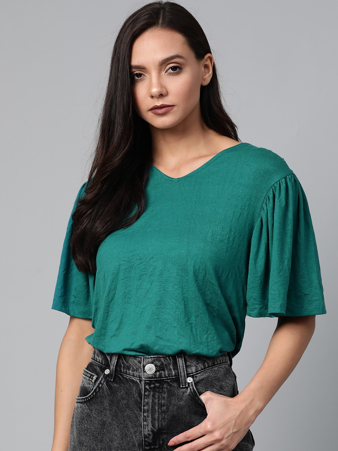Roadster Women Green Flared Sleeves Solid Top