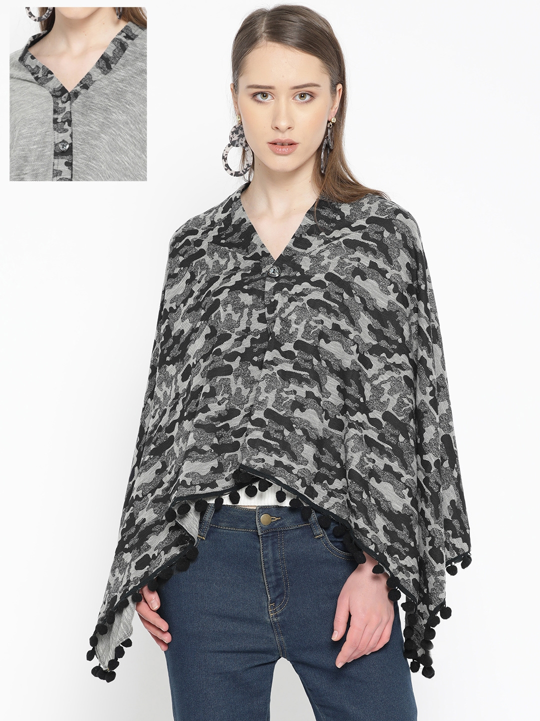 Skidlers Women Grey   Black Reversible Camouflage Print Button Shrug