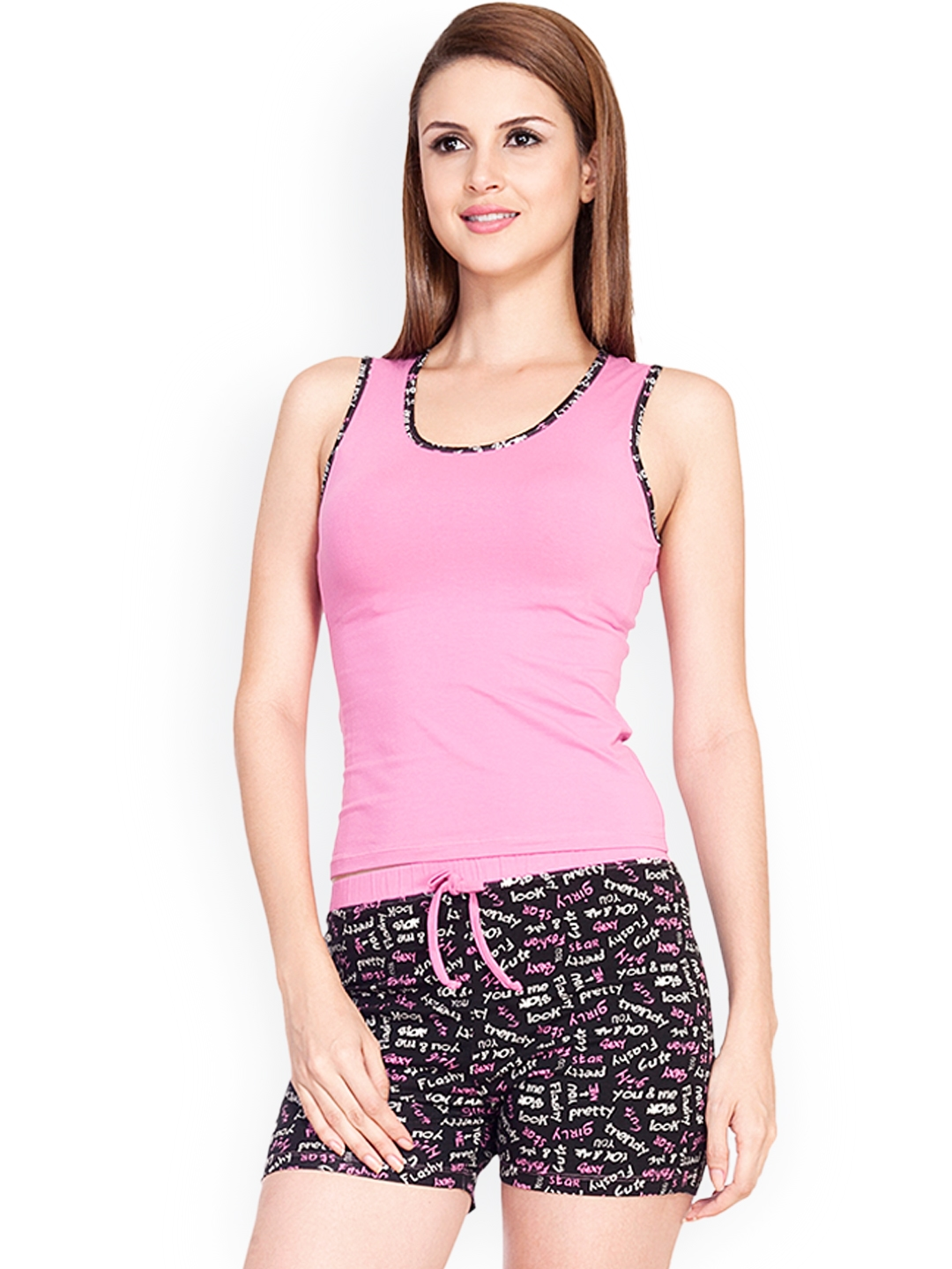 de8570ed41 Buy Soie Pink & Black Printed Shorts Set NT 16 - Night Suits for ...