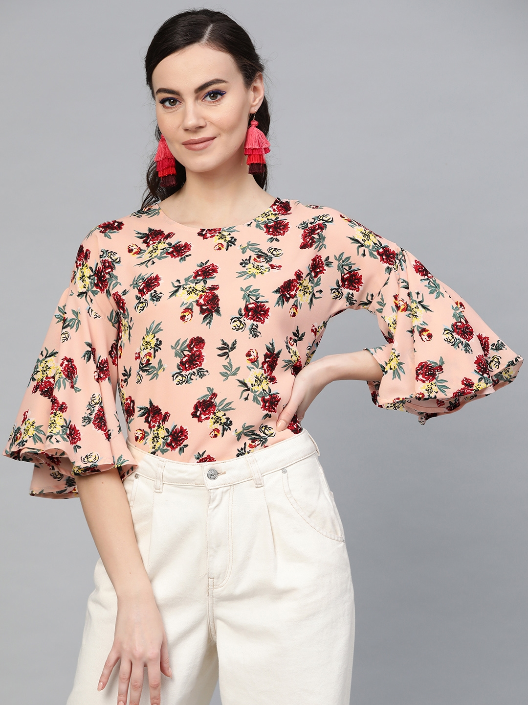 Popnetic Women Peach Coloured   Red Floral Print Top