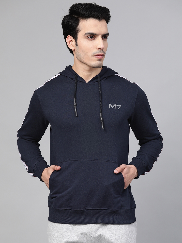 Metronaut Men Navy Blue Solid Hooded Sweatshirt with Side Taping