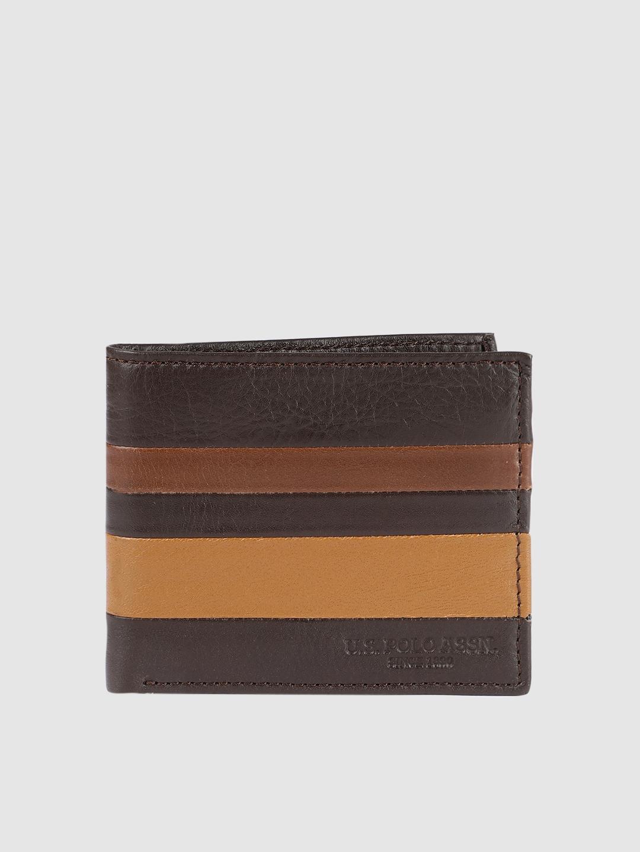 U.S. Polo Assn. Men Brown Colourblocked Leather Two Fold Wallet