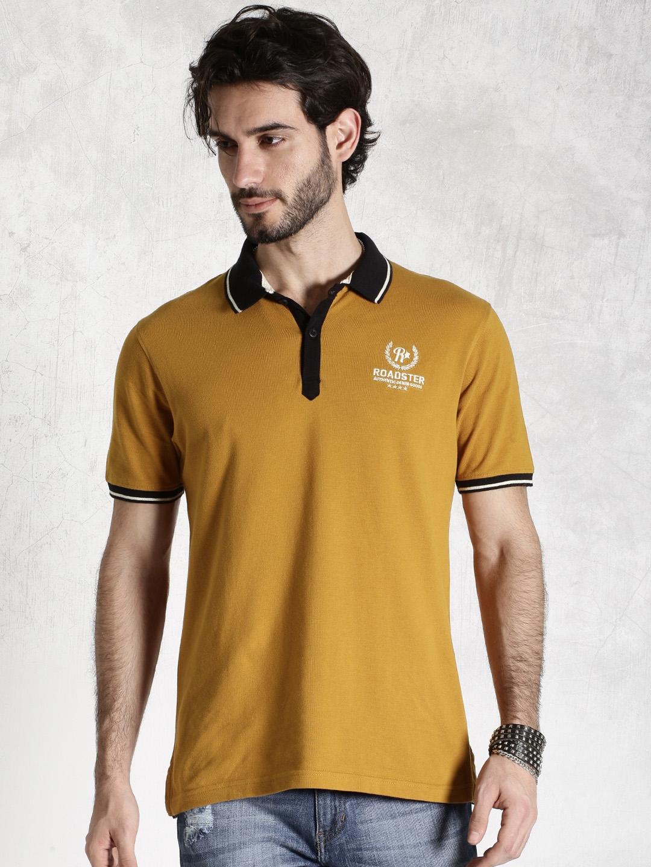 b07e31ec627 Buy Roadster Mustard Yellow Polo T Shirt - Tshirts for Men 1100609 ...