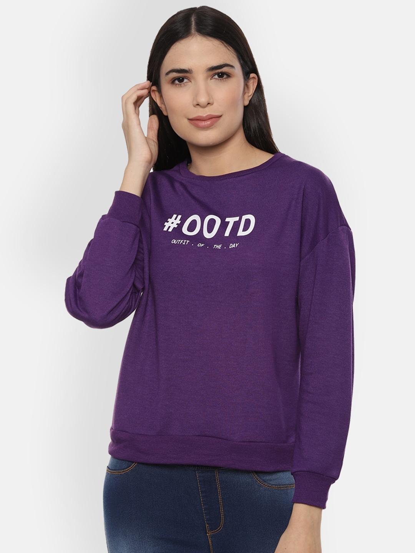 People Women Purple Printed Sweatshirt
