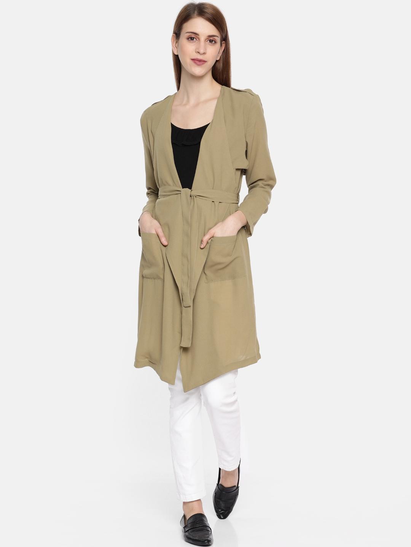People Women Khaki Solid Open Front Jacket