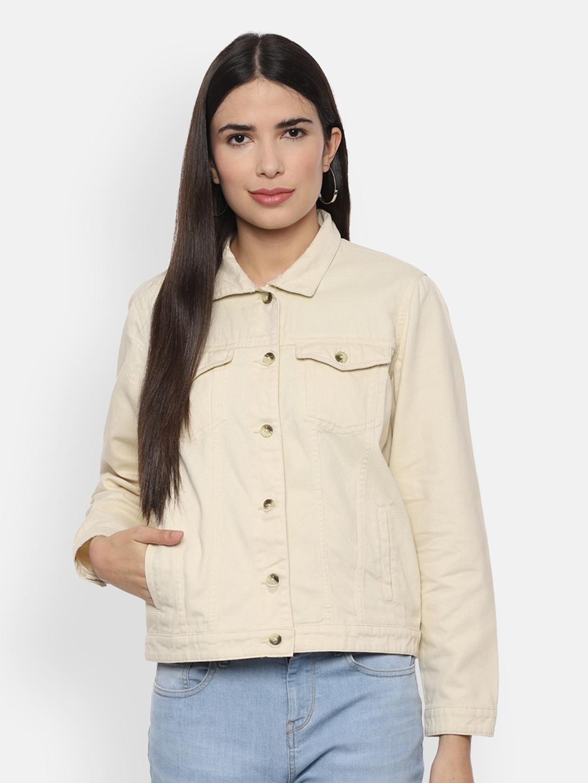 People Women Cream Coloured Solid Denim Jacket