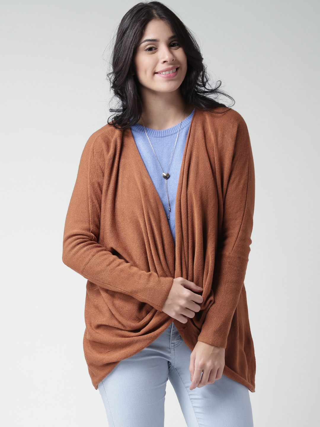 Buy FOREVER 21 Rust Brown Sweater With Crossover Detail - Sweaters ...