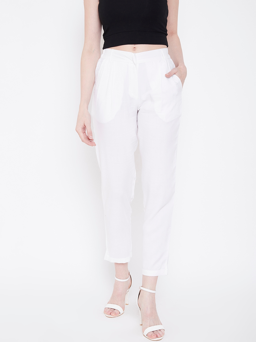 Deewa Women White Straight Fit Solid Cropped Regular Trousers