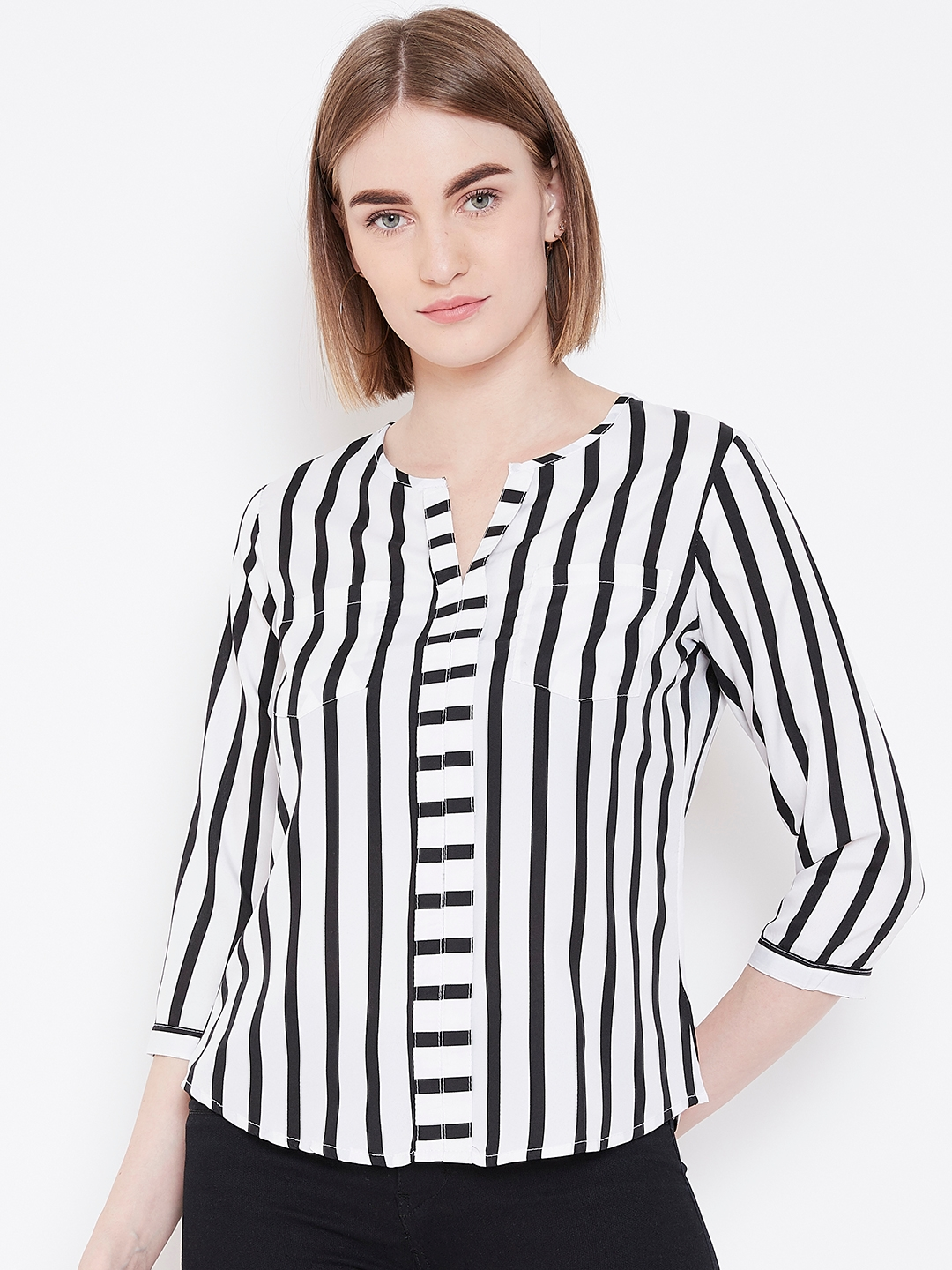 Deewa Women White   Black Striped Top