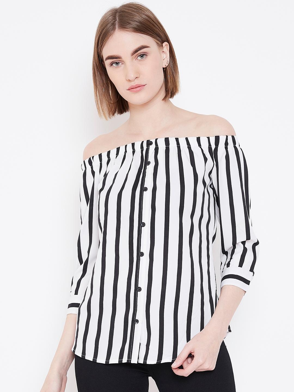 Deewa Women White   Black Striped Bardot Top