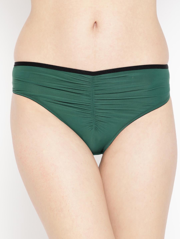 EROTISSCH Women Green Solid Bikini Briefs AIP 1A