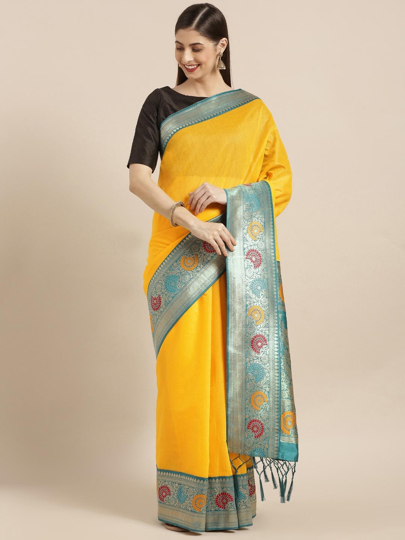 Varkala Silk Sarees Yellow Cotton Blend Solid Banarasi Saree