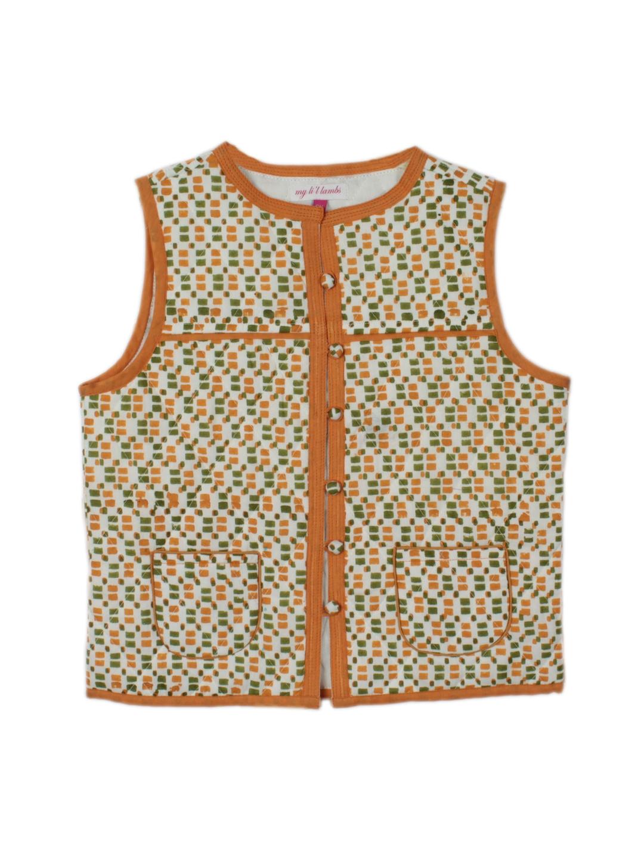 My Little Lambs Unisex Orange Printed Quilted Sleeveless Jacket